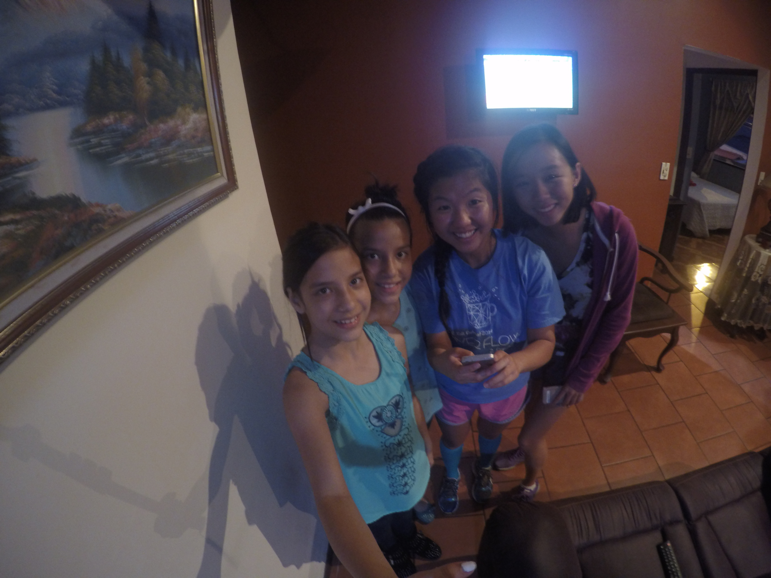 Daniella and Valeria posing for a selfie with Lisa and Karina