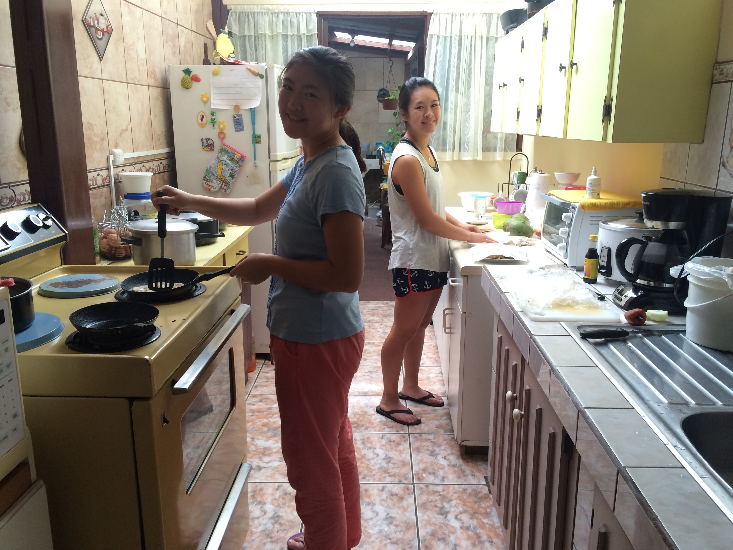 Danielle and Amy cooking up a storm!
