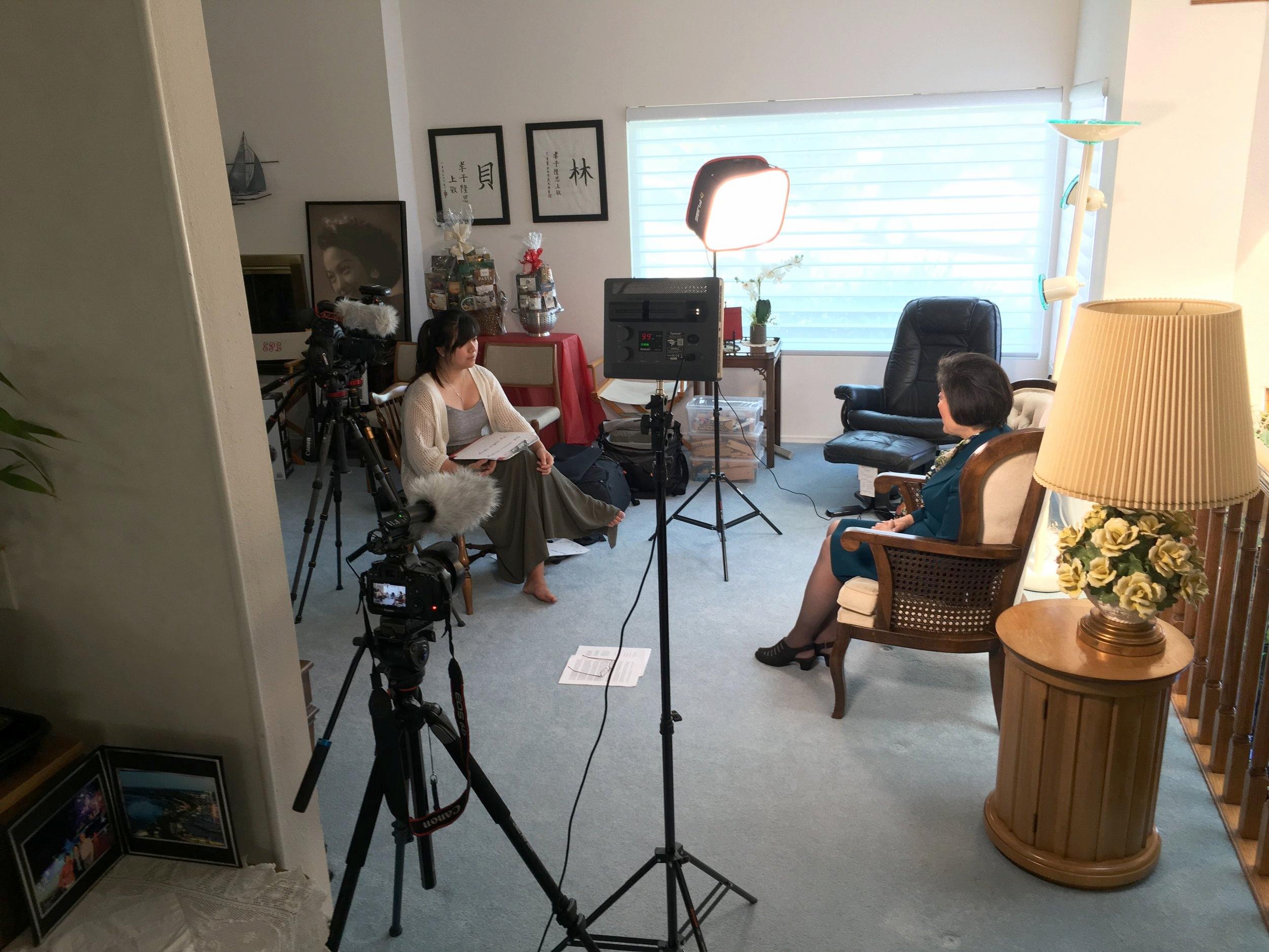 Josephine interviewing Dr. Eva Leonard