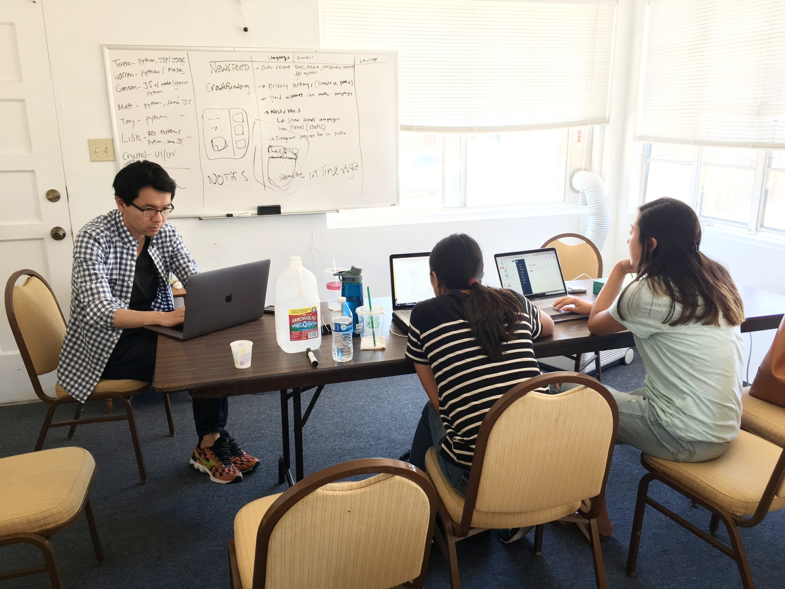Half of our web team! From left to right: Tony Zhang, Lilith Huang, & Teresa Yuan
