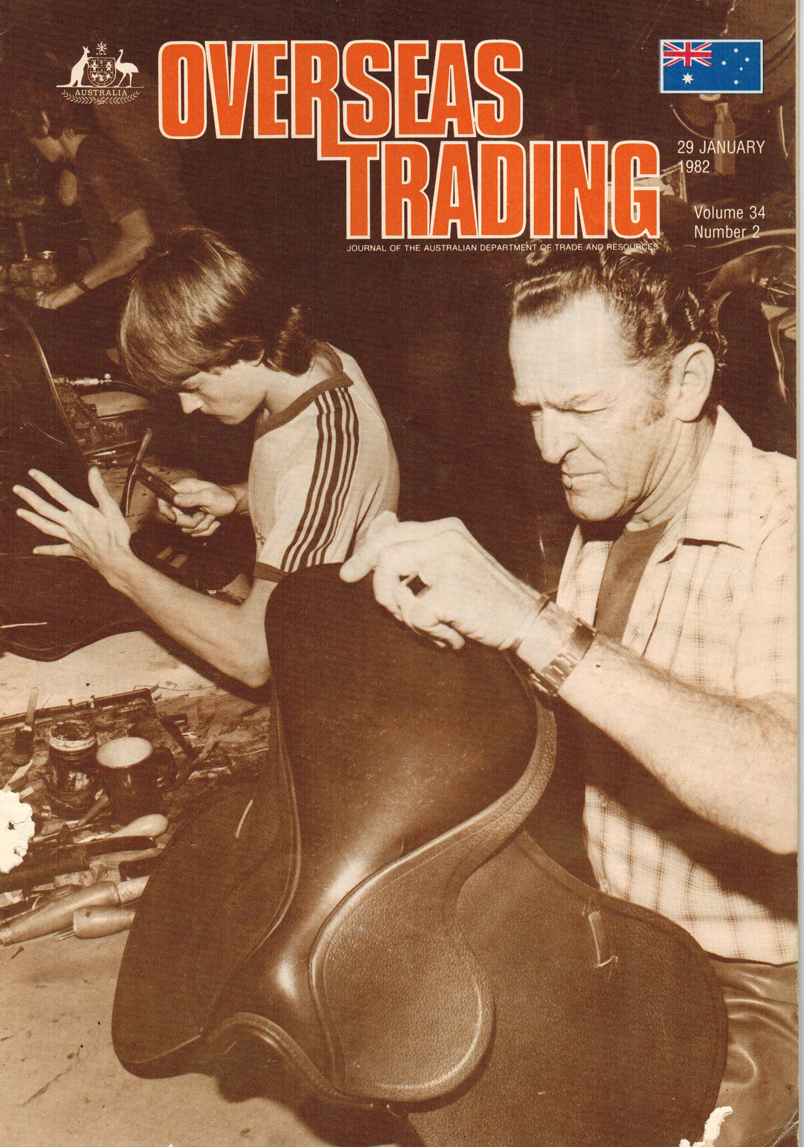 Syd Hill Saddlers on the cover of 'Overseas Trading'