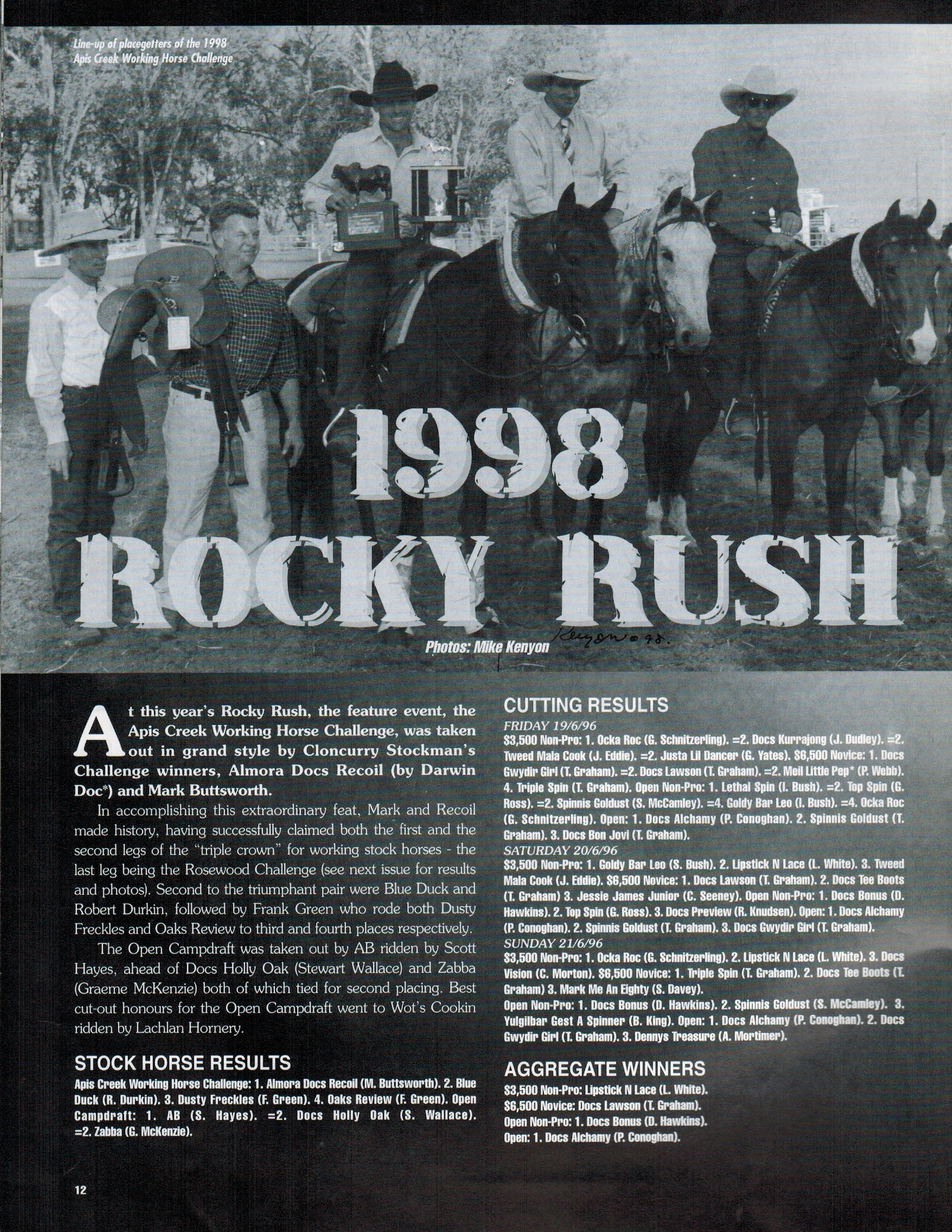 'Rocky Rush' article, featuring Paul Hill second from the left.