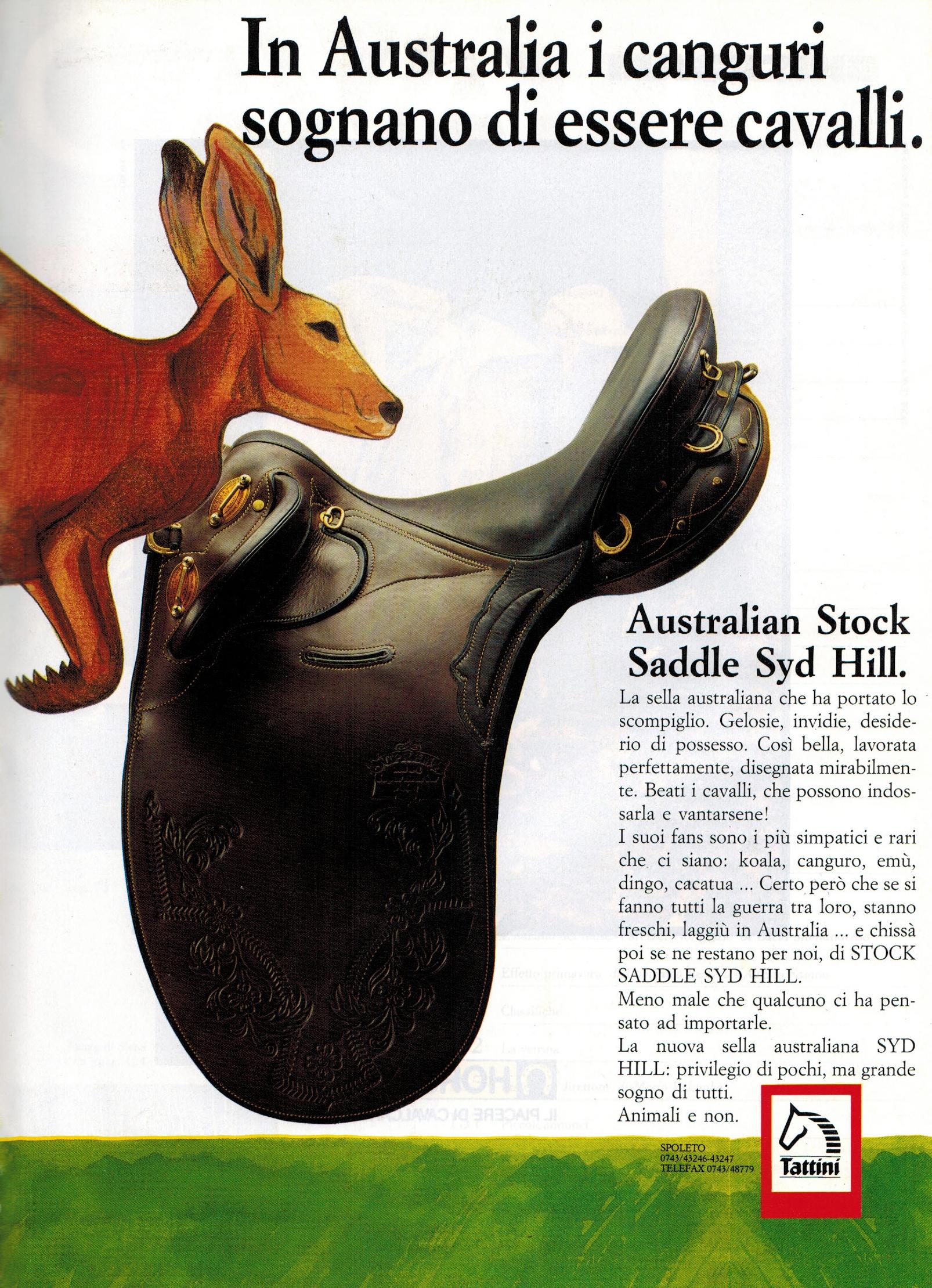 Advertisement in Italian equestrian magazine.