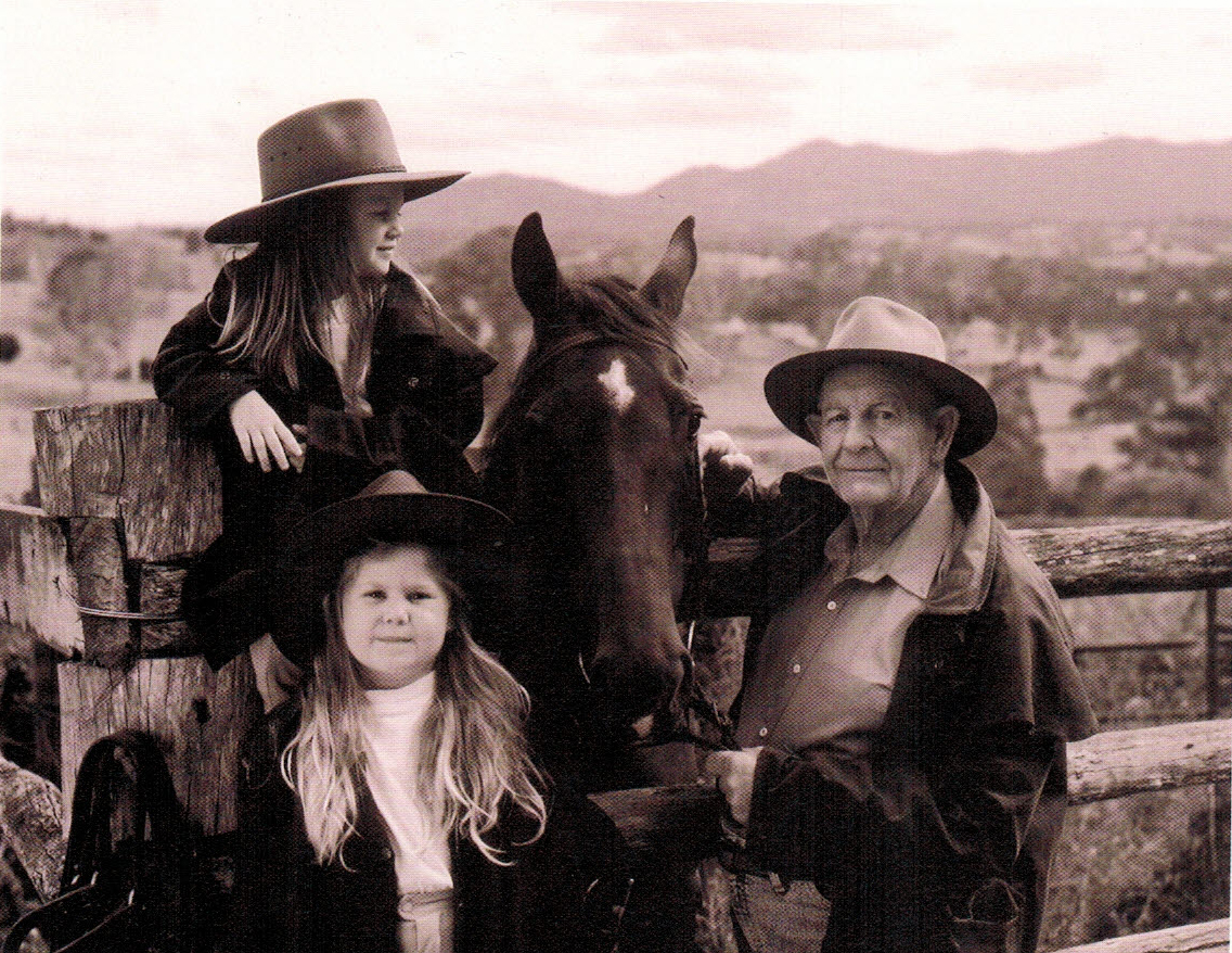 Jim Hill with his granddaughters Brigitte (bottom) and Jordan (top) and Pauls beloved horse, Star. Today, both girls work for Syd Hill & Sons.
