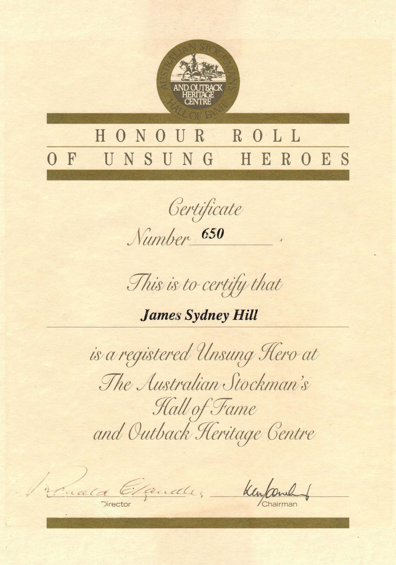 Jim Hill's certificate to the Stockmans Hall of Fame.