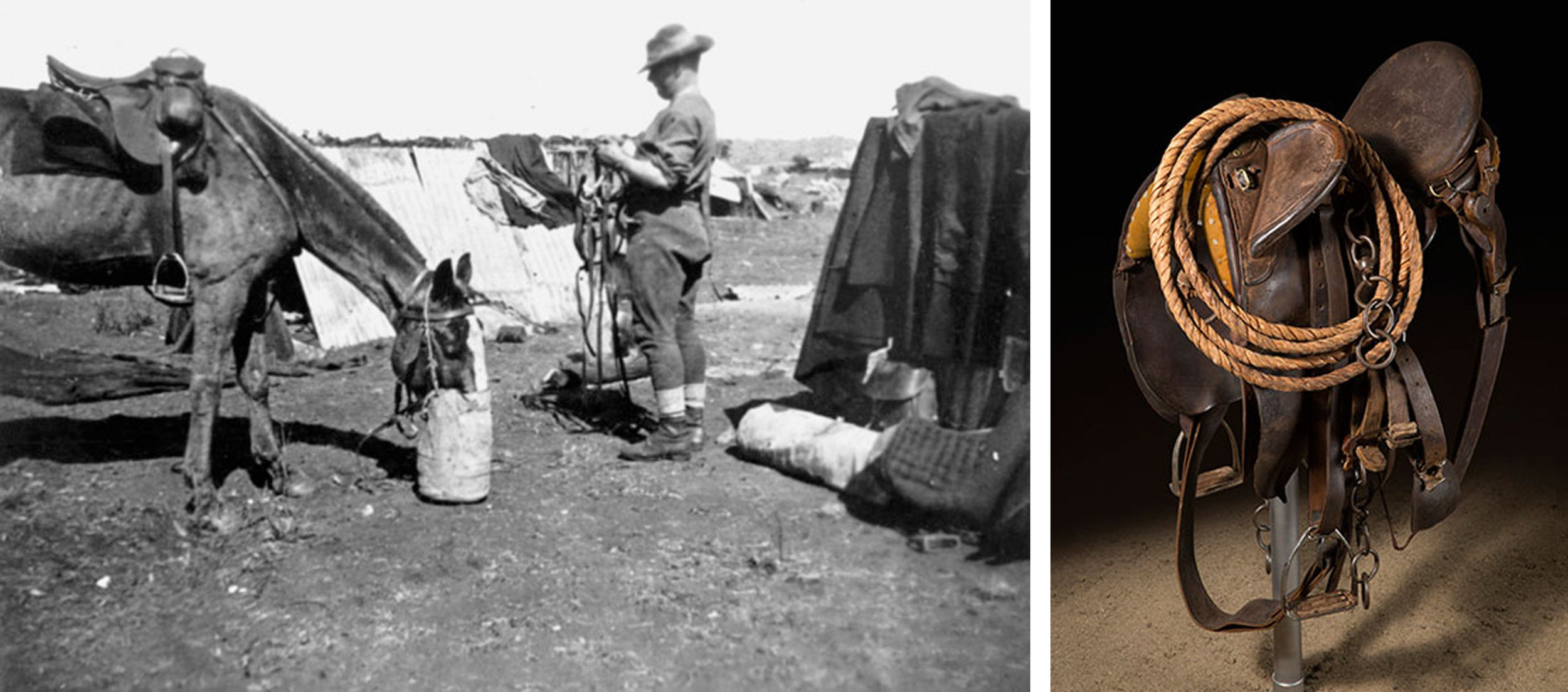 Soldier and horse in the Boar War (left). Ted Fogarty's Syd Hill saddle (right).