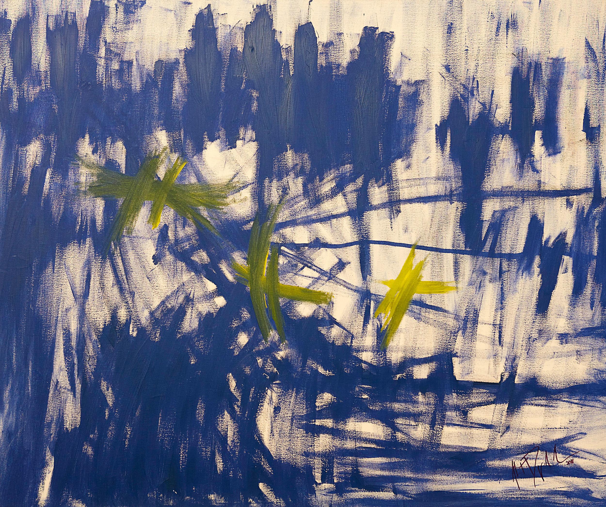 "Dragonflies II , 2011   Oil on canvas   39 x 47"""