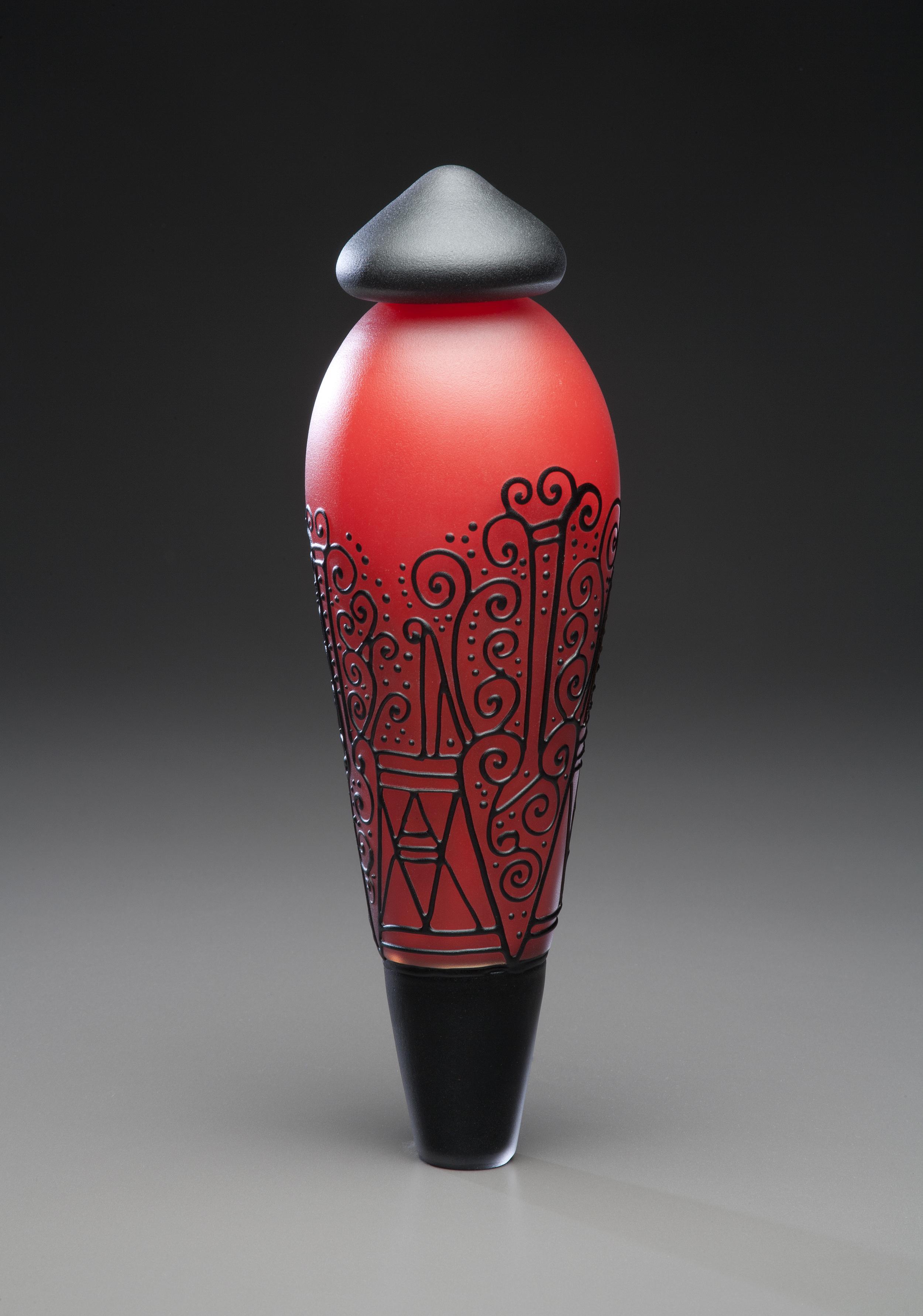 Matte Mirrored Red and Black Pendulum