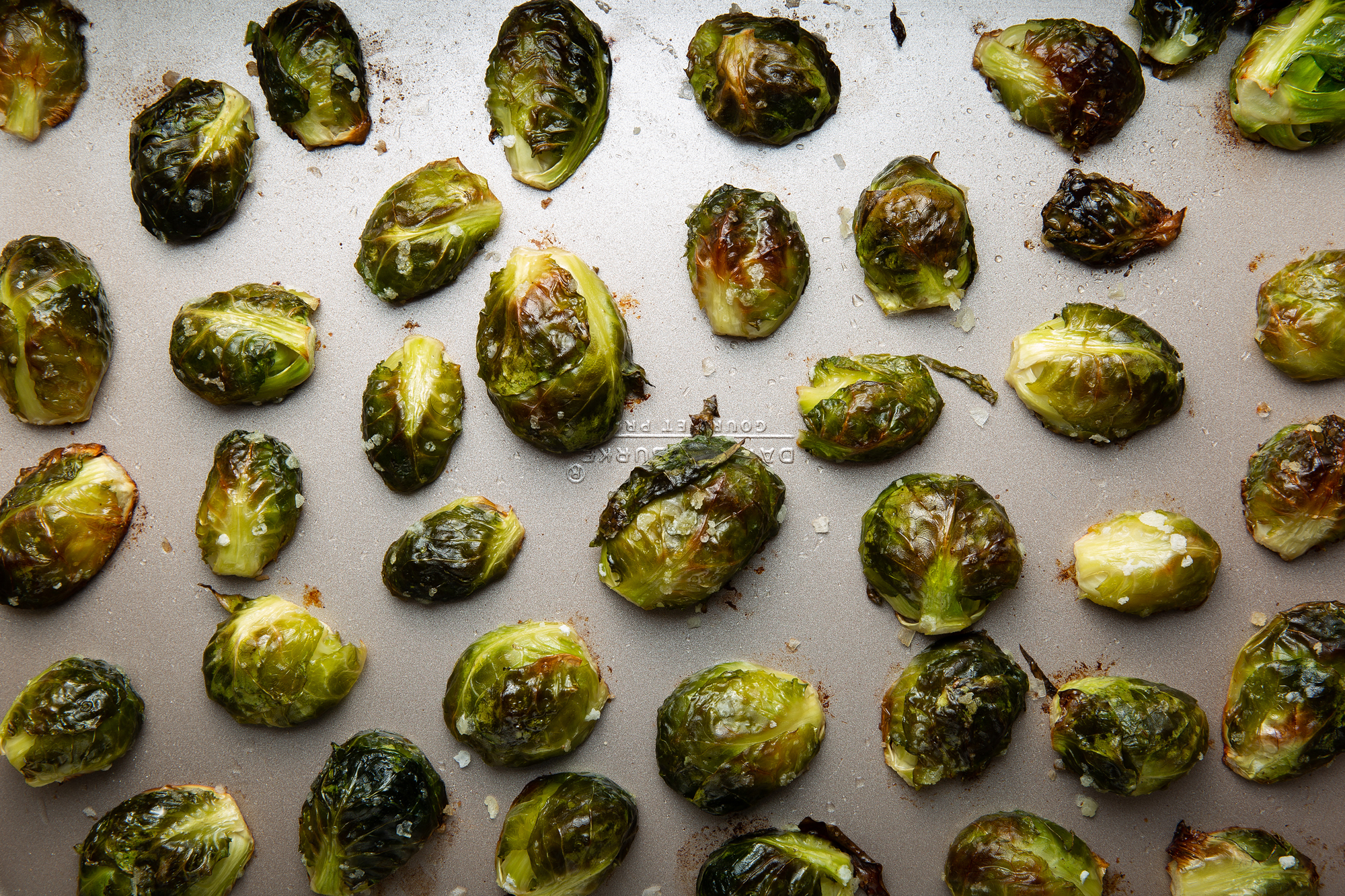 Oven Roasted Brussels Sprouts with Olive Oil and Salt