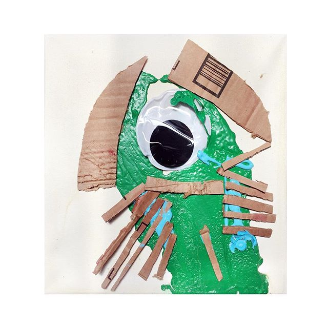 """Horseshoe Crab Painting #359/365, A giant googly eye, house paint, and cardboard on oven baked canvas 12"""" x 12""""."""