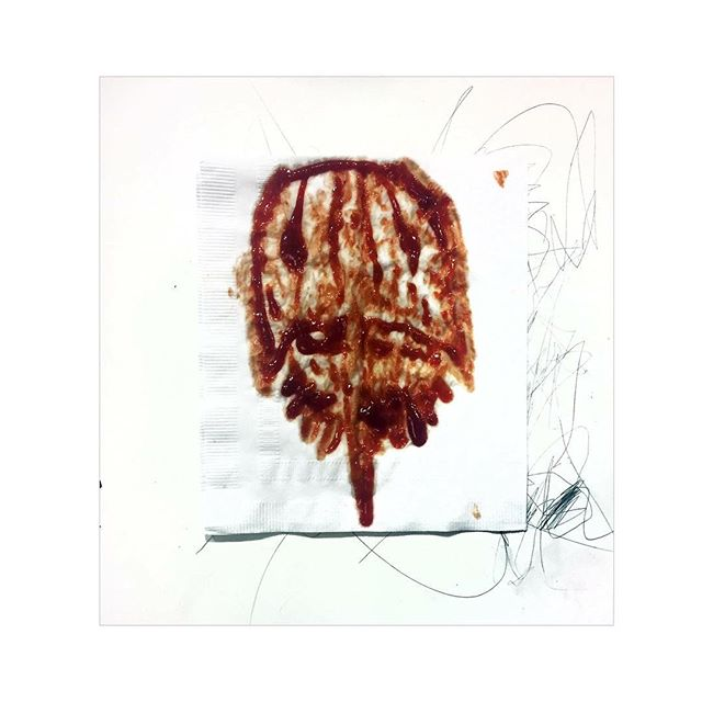 """Horseshoe Crab Painting #361/365, ketchup on napkin and pencil on acrylic primed panel 12"""" x 12""""."""