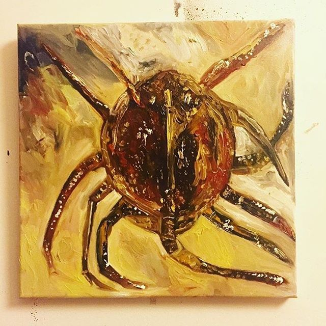 Throwback Crab! Horseshoe Crab Painting #1/365 oil on canvas.