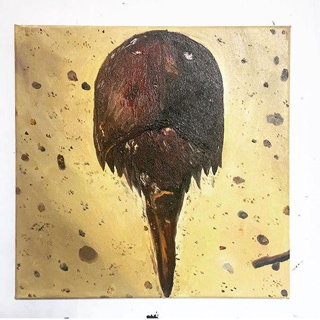 """Throwback Horseshoe Crab. Horseshoe Crab Painting #2/365 12"""" x 12"""" oil on canvas."""