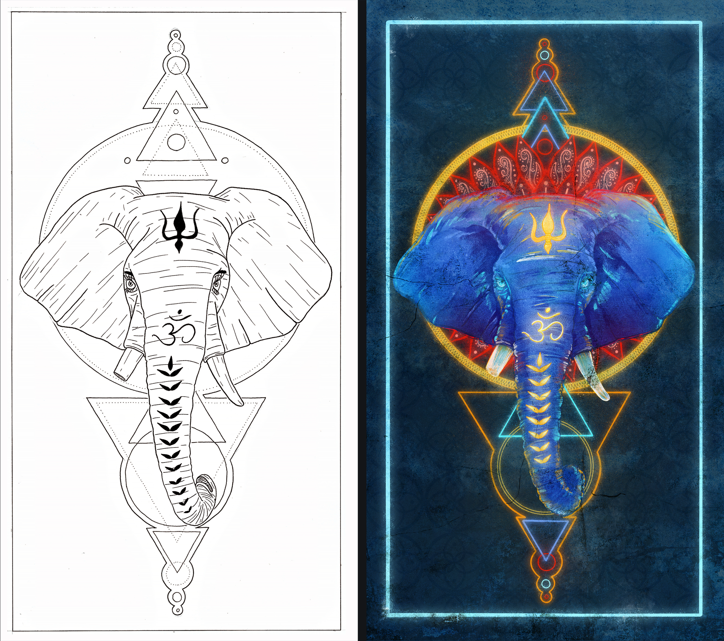 HitRecord Collaboration  - Lines (left) by  Dimitri Svolvas , Color and revisions by me.