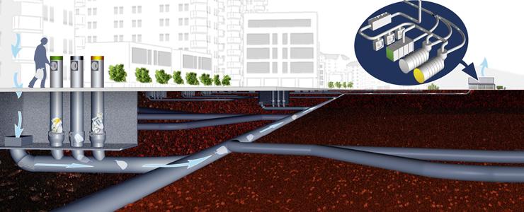 ENCAV underground vaccum waste management system