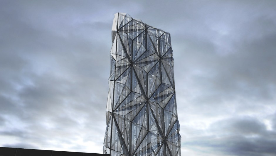 Low Carbon Energy Centre and architectural flue stack coined the 'optic cloak'[C.F. Møller/Conrad Shawcross]