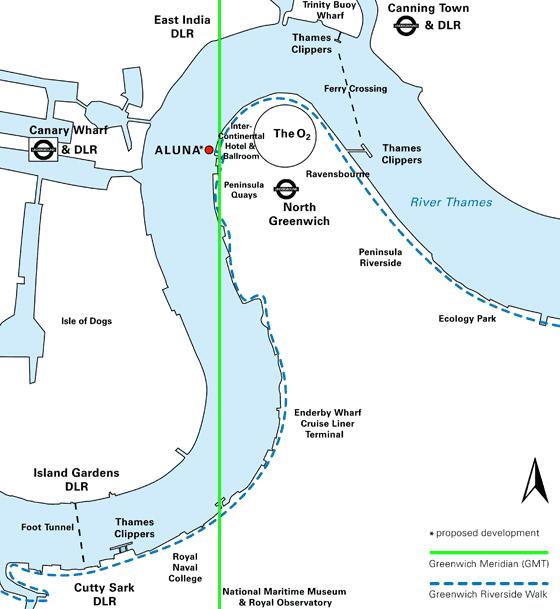 Porposed location of Aluna along the Meridian Line (Aluna Foundation)