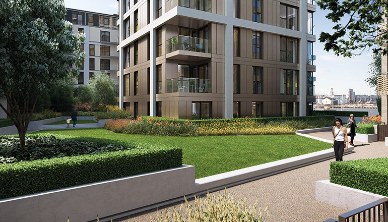 CGI: Shared Garden on raised podium, accessible to all residents of The Lighterman buildings [Knight Dragon/CJCT]