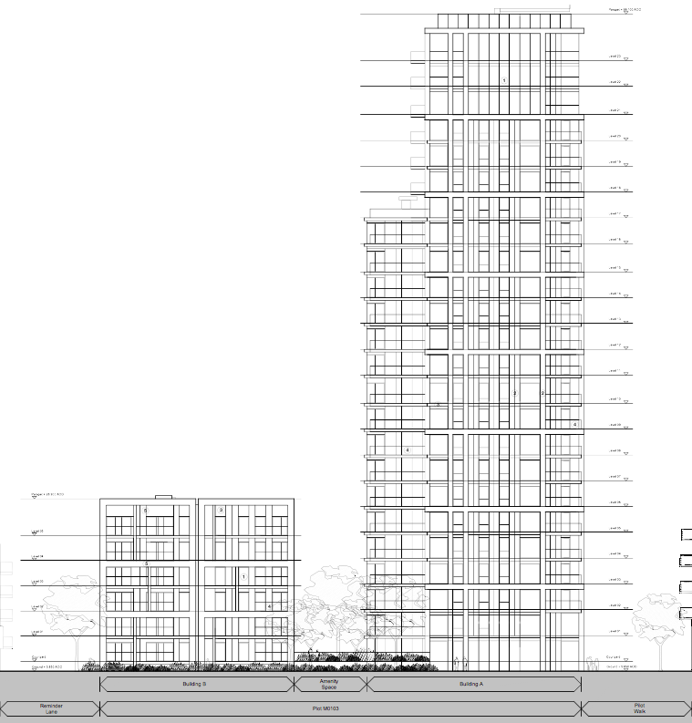 Proposed northeast elevation (river front facing buildings A and B)