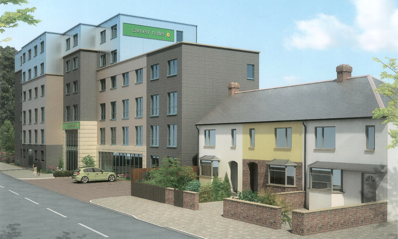 Hotel developed north of existing terraced housing on Tunnel Avenue [One Investments]