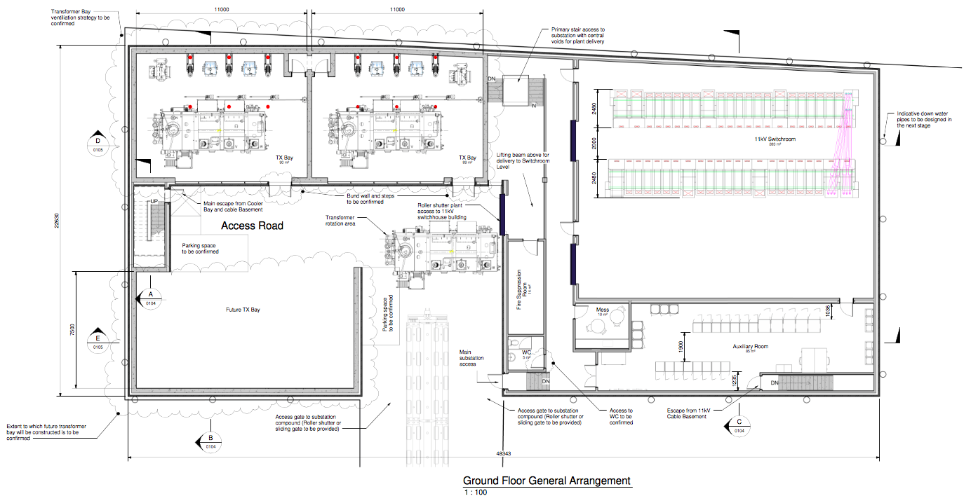 Ground Floor arrangement of Substation (UKPN/Mott MacDonald)