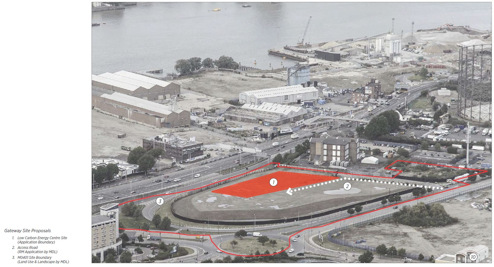 Proposed site of Energy Centre on plot M0401, adjacent to Blackwall Tunnel Approach [C.F. Møller]