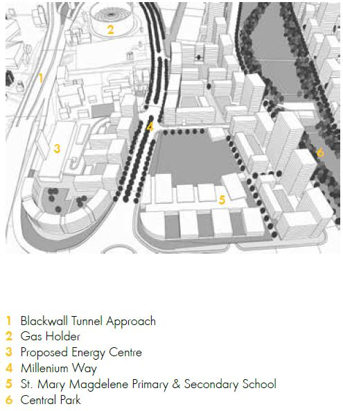 Knight Dragon's proposals for a revised Greenwich Peninsula Masterplan (2015) show the Energy Centre within theLower Brickfields neighbourhood