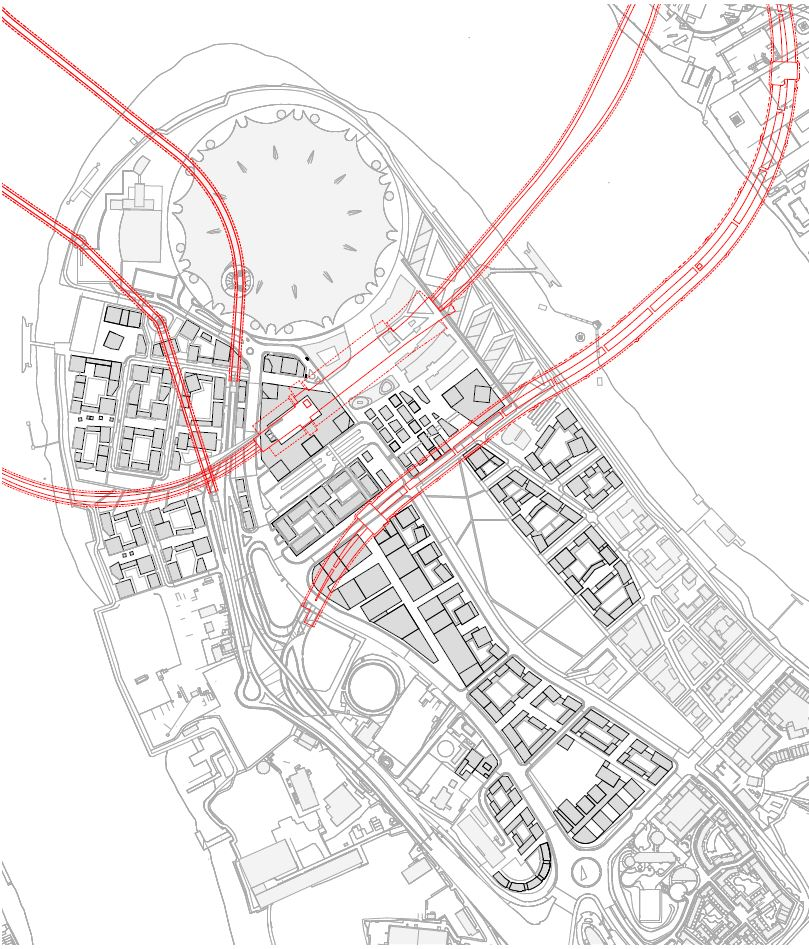 Proposed 2015 Masterplan with existing and proposed underground constraints affecting phasing (Knight Dragon)