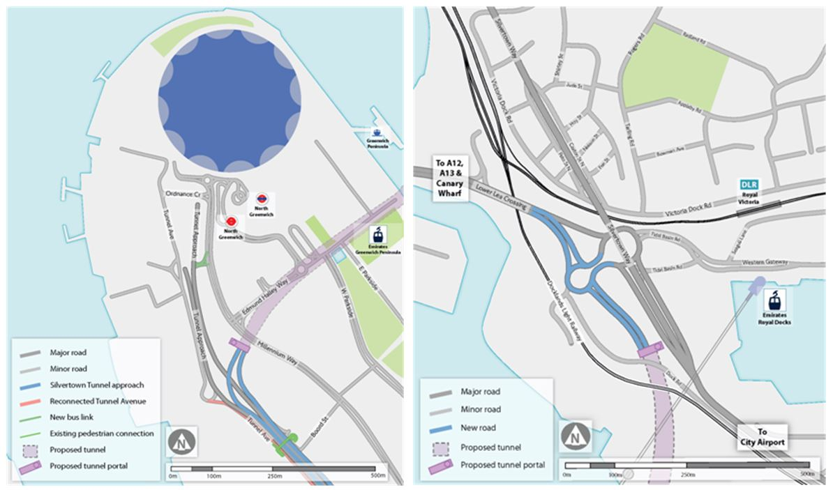 Proposed route of Silvertown Tunnel - Greenwich Peninsula and Silvertown junctions (TfL)