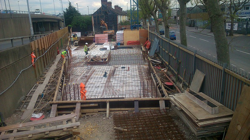 Construction update from April 2015 shows the narrowness of the plot [One Investments]