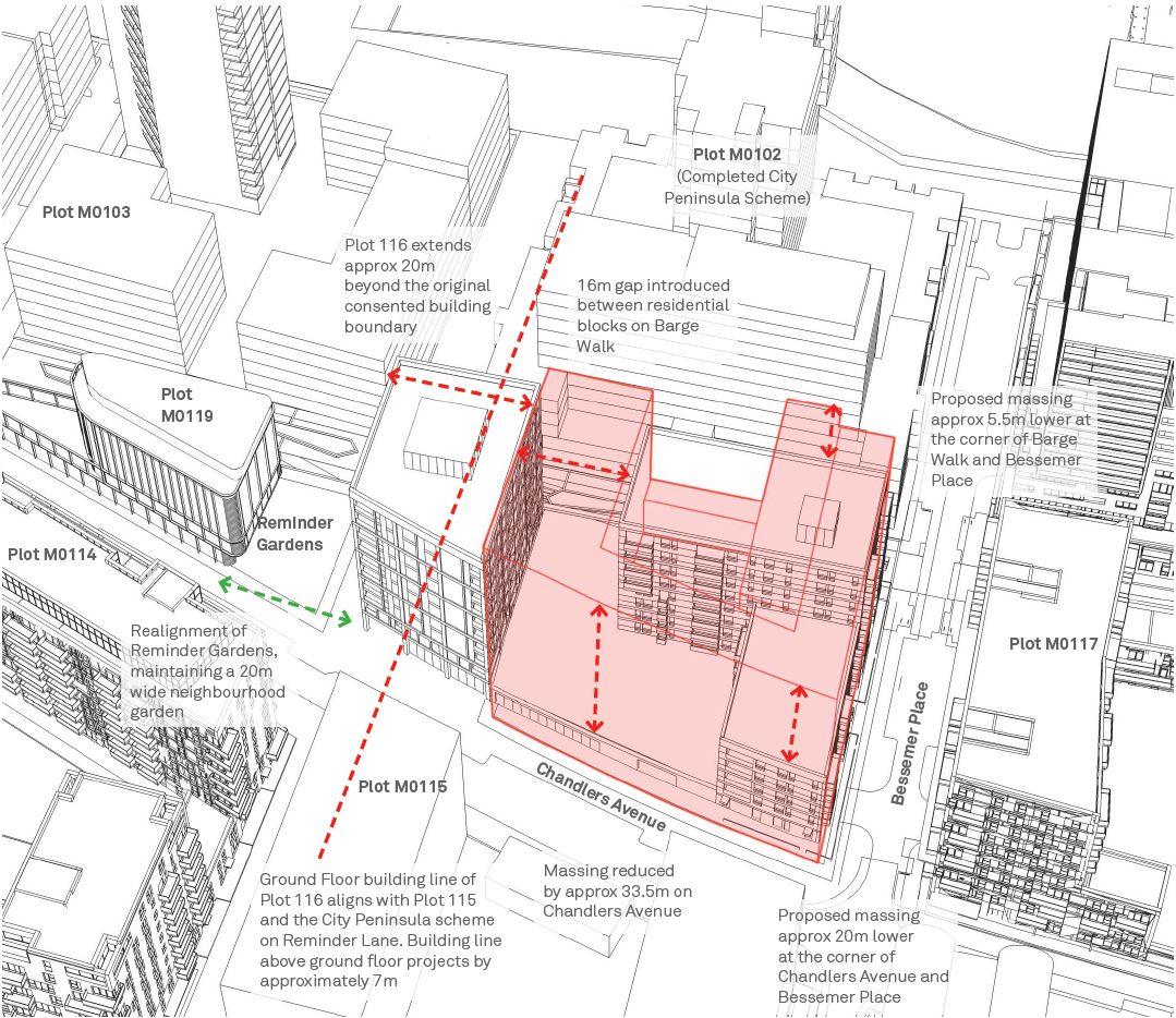 Changes to the massing of The Fulmar development, previously consented massing in red [DSDHA]