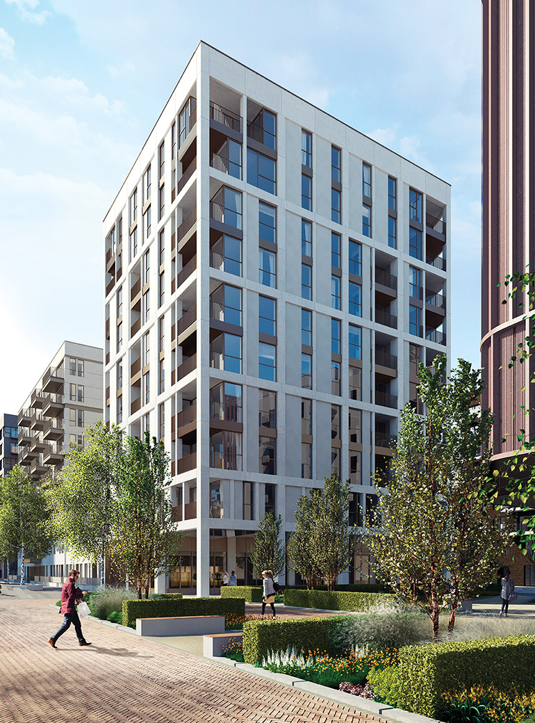 CGI: The Fulmar and Reminder Gardens, Greenwich Peninsula [DSDHA/Miller Hare]