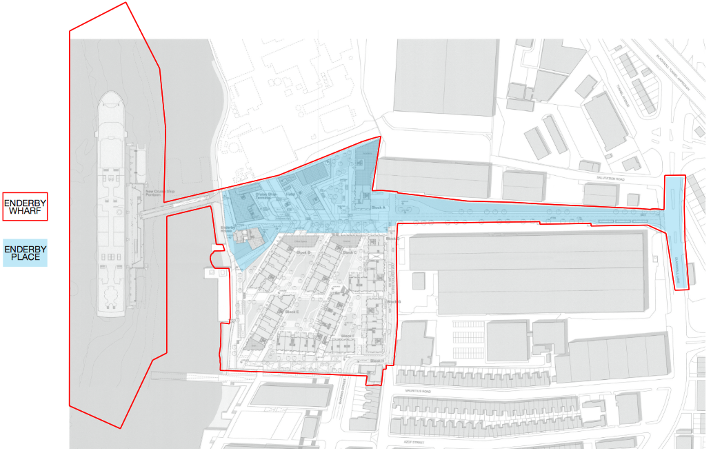 Revised plans for Enderby Place (blue) cover the north of the wider Enderby Wharf development (red) [Manser Practice]