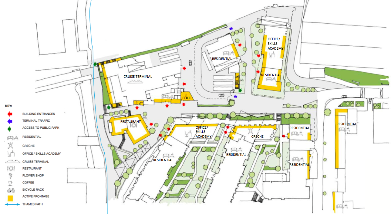 Revised street layout and active frontage, Enderby Place [Manser Practice]