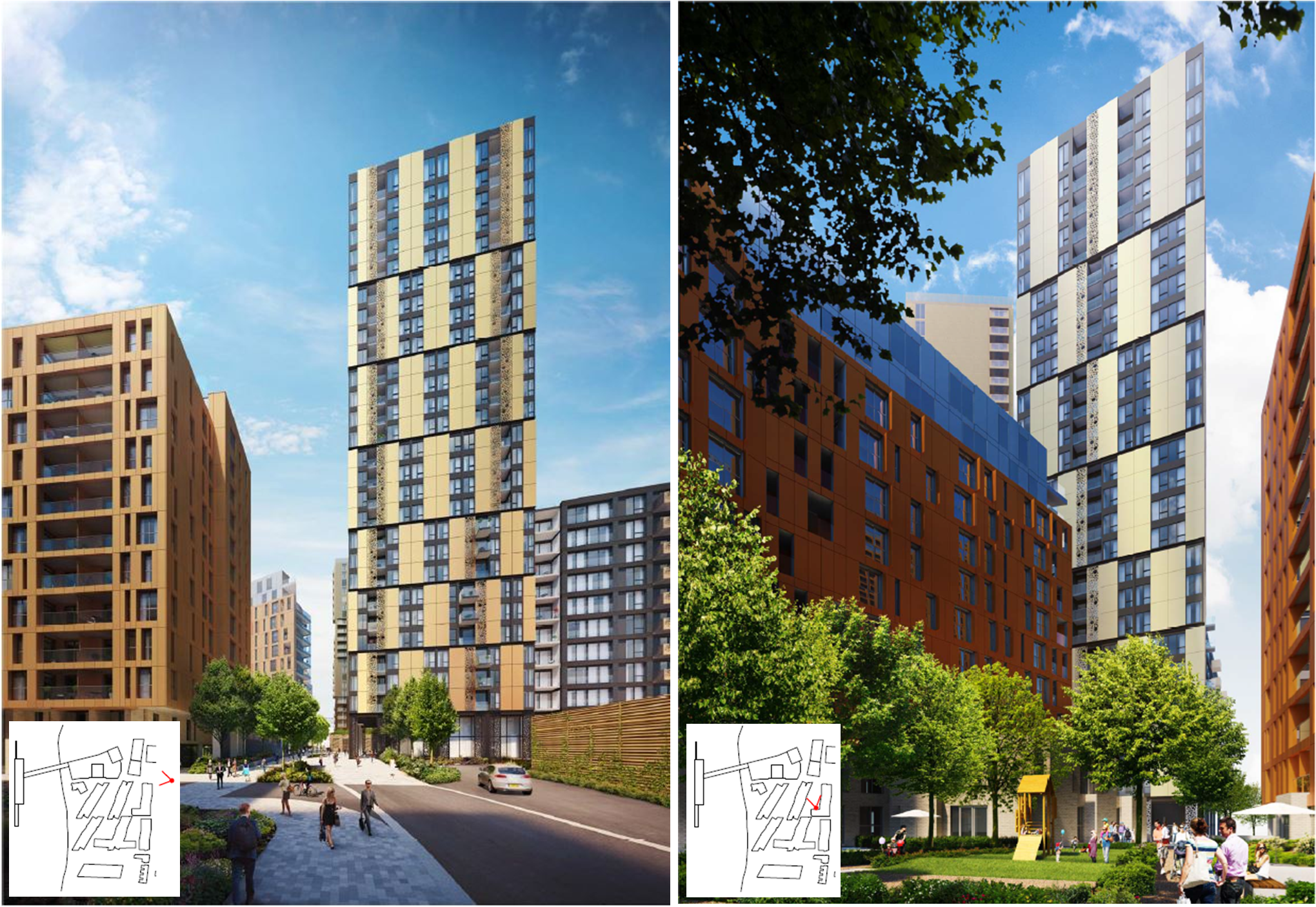 Left: View along main road looking towards eastern facade,   Right: View from Block D towards southern facade   [Manser Practice]