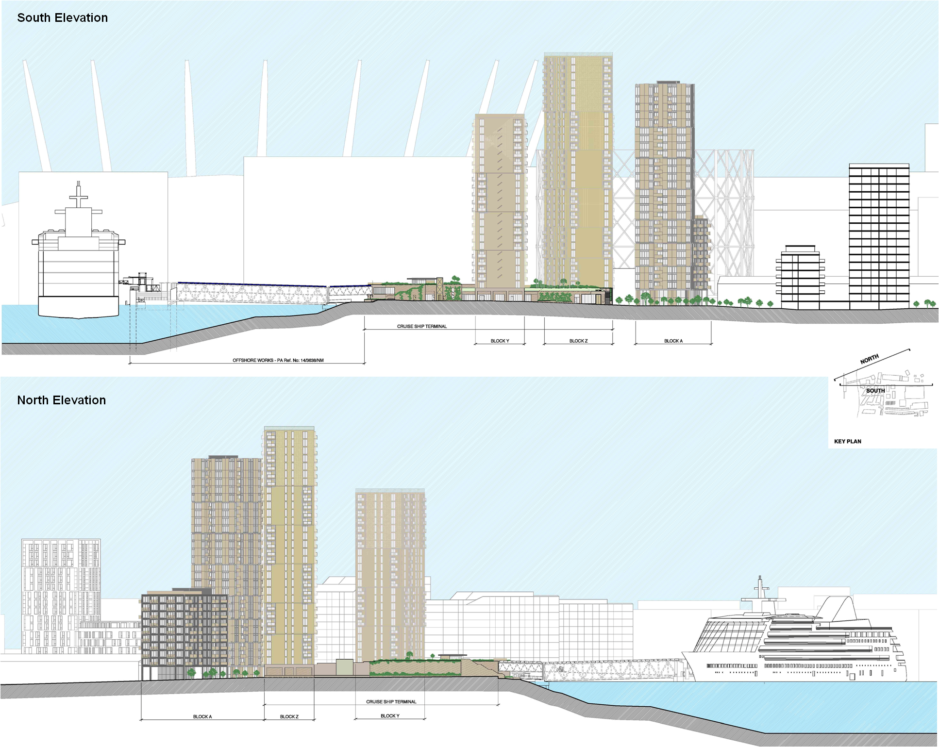 North and South elevations of Enderby Place proposals, revised June 2015 [Manser Practice]
