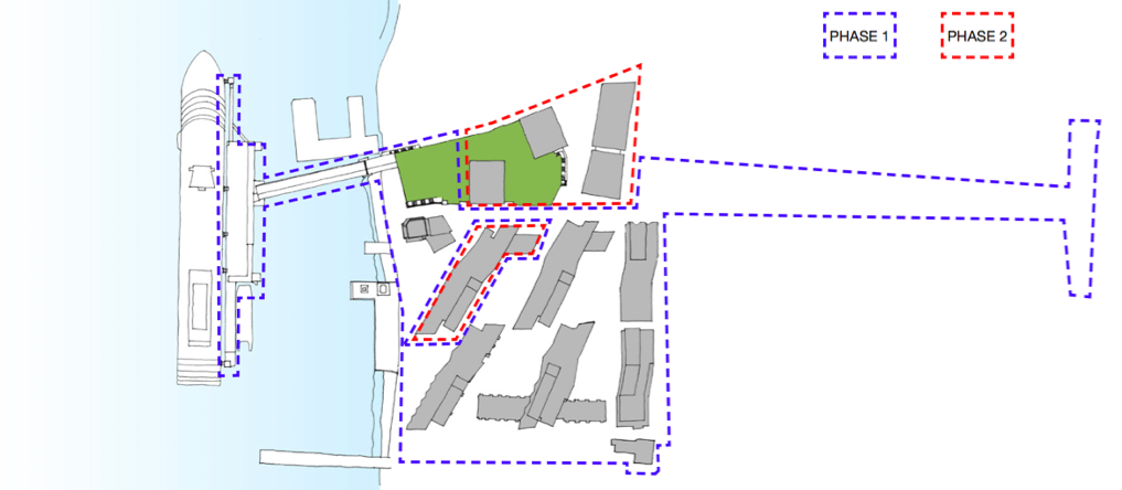 Proposed scheme phasing of Enderby Wharf [Manser Practice]