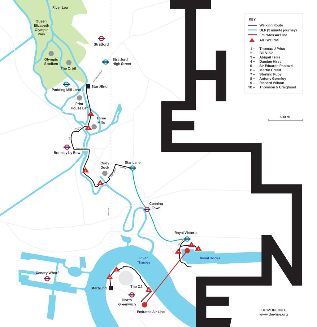 The route of The Line, clipping the western edge of the Greenwich Peninsula (the-line.org)