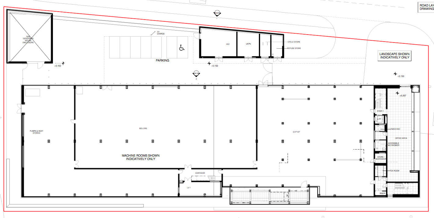 Plans for the Ground Floor of the Energy Centre show plans for the machine rooms and equipment, with office space and the Visitors Centre located on the first and second floors.