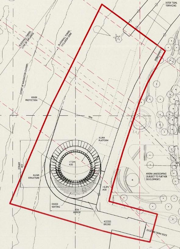 Site plan of the Aluna Clock