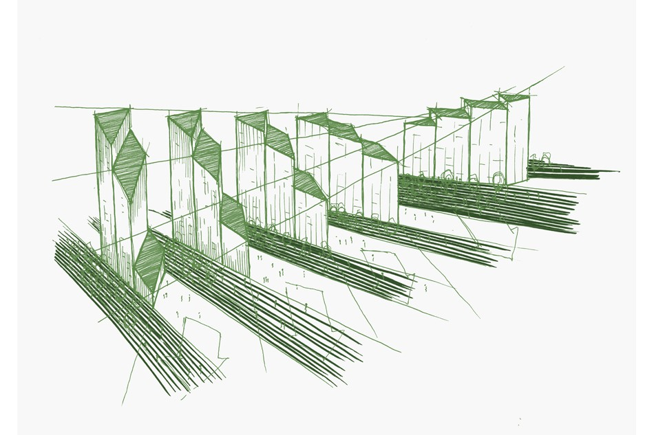 Sketches of elevations over the Upper Riverside Development (Greenwich Peninsula)