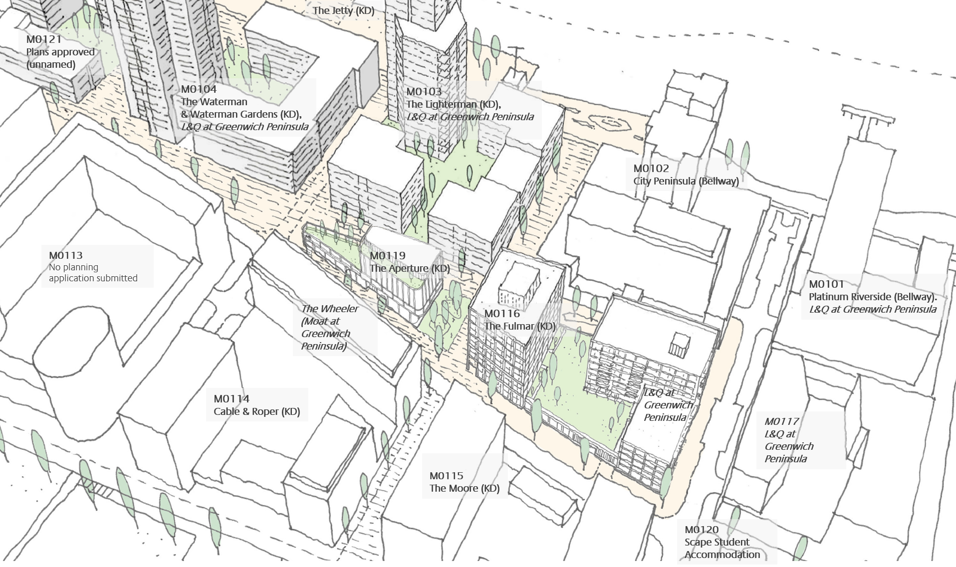 Lower Riverside and Parkside developments (affordable homes providers in italics, where known) [modified from DSDHA]