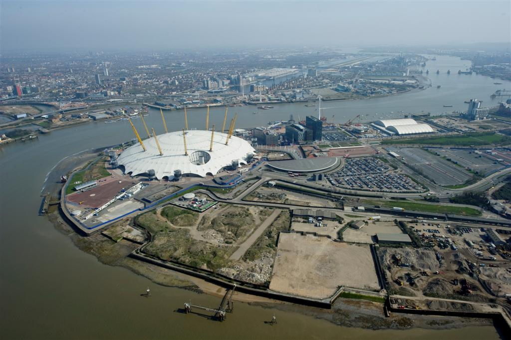 Aerial view - western riverside of Greenwich Peninsula, land earmarked in 2004 Masterplan for hotel and Peninsula Quays development [Source unknown]