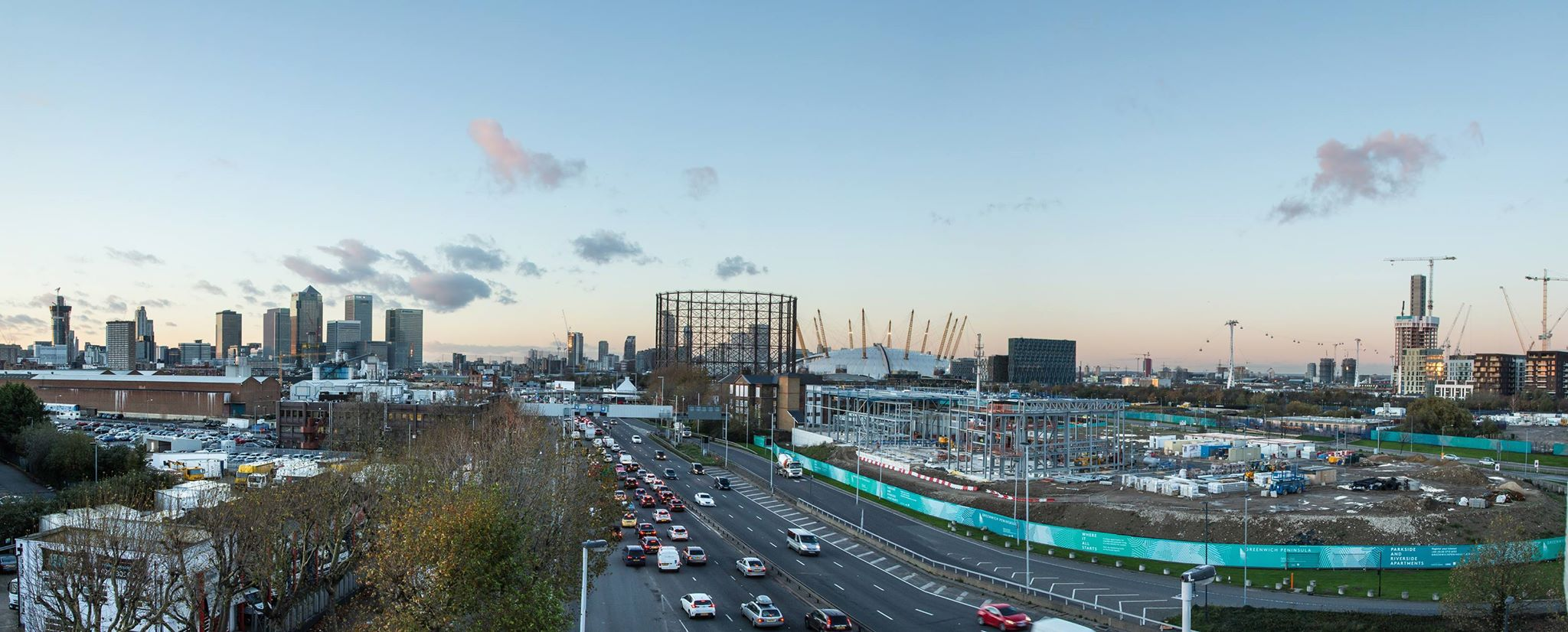 View over A102 from the roof during construction of the Ibis Styles hotel, November 2015 [One Investments]