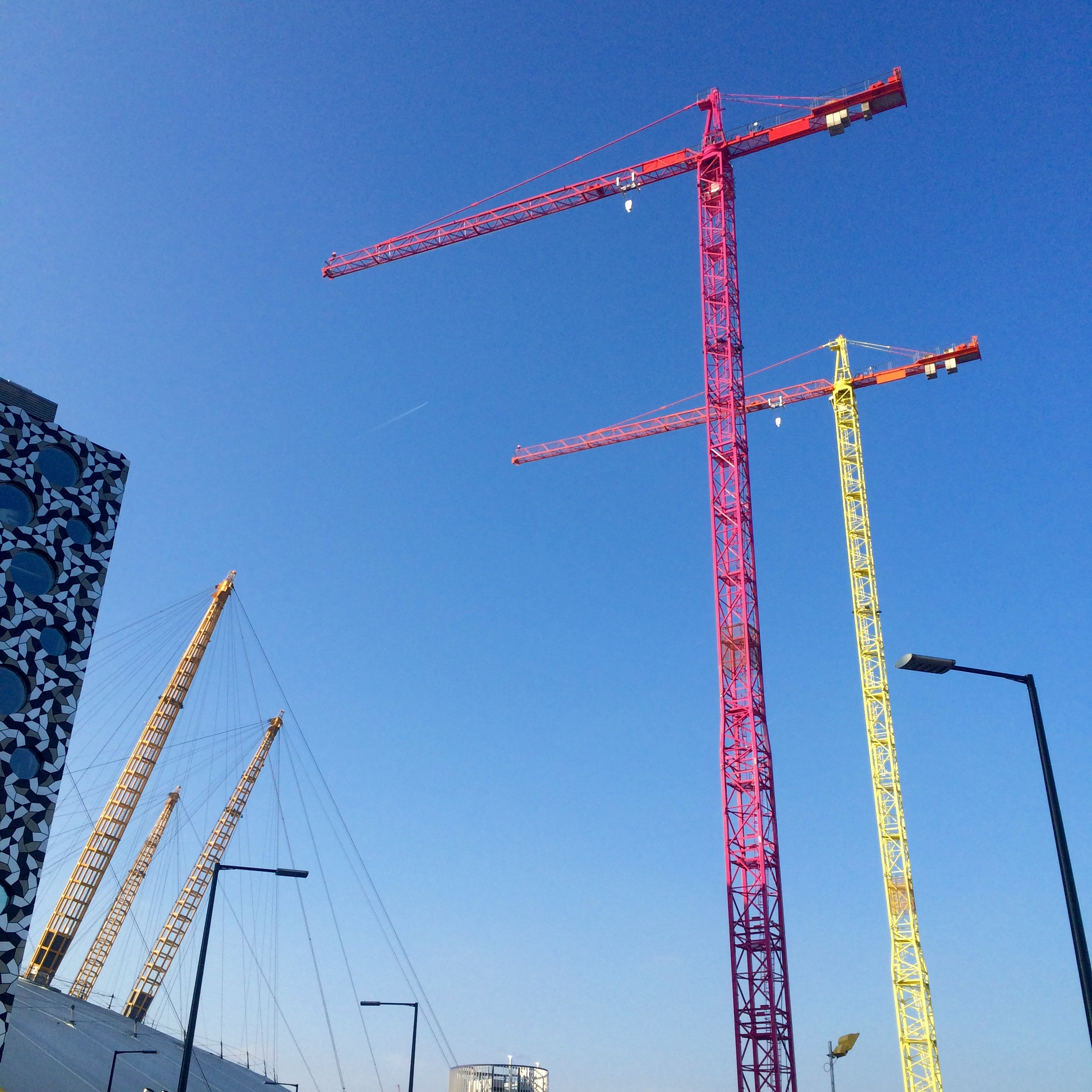 Morag Myerscough's  Colourblock Cranes  on the Upper Riverside construction site, March 2016 [greenpenlondon]
