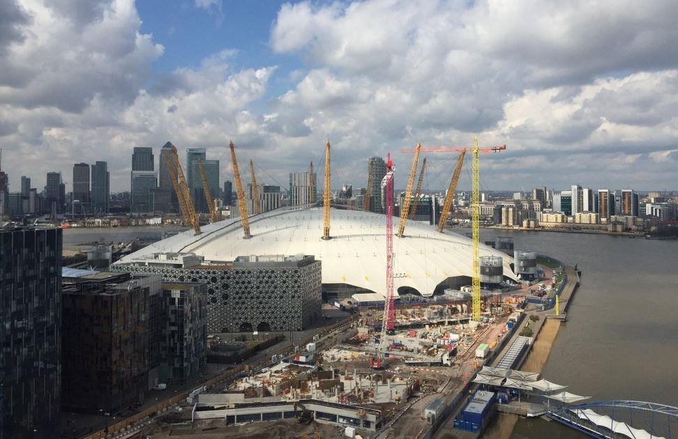 Ground works progress at the Upper Riverside site with the basement construction on Buildings No.1 and 2, as viewed from the Emirates cable car - March 2016 [Source?]