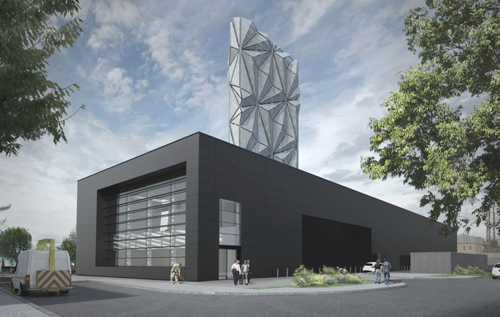 Plans for the Greenwich Peninsula Low Carbon Energy Centre, which is to be operated by Pinnacle Power and will providing energy for the district heating network run by Loka Energy [CF Moller]