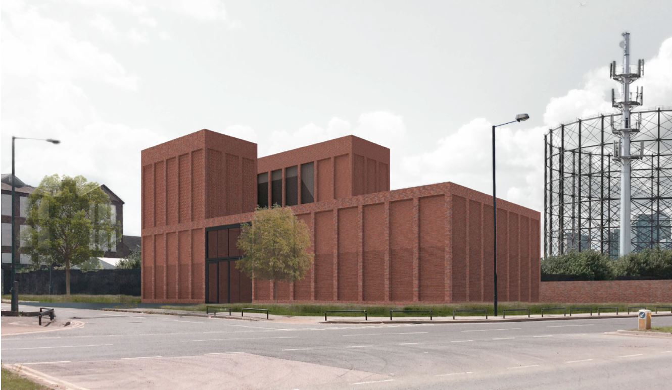 Proposed Electricity Substation, located just east of the Energy Centre, that London Power Networks PLC, part of UKPN, are to build on Old School Close - released December 2014 [UKNP/Nord Architecture]