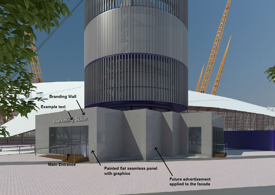 Designer Outlet Collection mall at The O2 moves a step closer as Royal Borough of Greenwich approve a temporary marketing suite to attract retailers - released Dec 2015 [AEG/Leonard Design Architects]