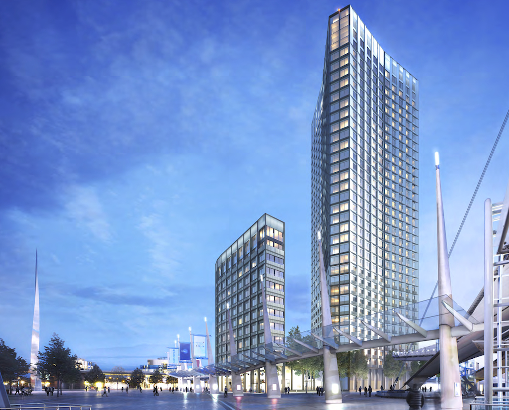 O2 owner AEG has submitted revised preliminary proposals the same plot, immediately south of The O2, for a two residential towers, 10- and 34-stories tall, facing onto Peninsula Square [AEG/Lifschutz Davidson Sandilands]